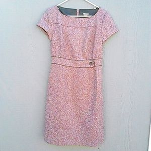 Ann Taylor | pink and black tweed dress size 6